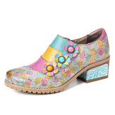 SOCOFY Bohemian Bloom Polychromatic Embossed Flower Splicing Floral Genuine Leather Pumps