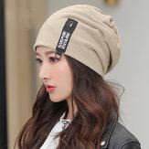 Женская хлопок сохраняет тепло На открытом воздухе Зимняя мода Повседневная однотонная двойная вязаная шапка Шапка