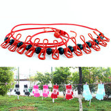 IPRee ™ Outdoor Portable Clothesline Stretch Windproof Camping Rope avec 12 clips