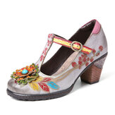 SOCOFY Retro Painted Floral Leather-Wrapped Heel T-Strap Buckle Chunky Heels