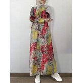 Women Cotton Floral Print O-Neck Long Sleeve Kaftan Tunic Maxi Dress With Side Pocket