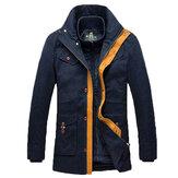 Mens détachable doublure col montant chaud veste multi-poches contraste couleur mi-long manteau