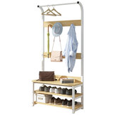 Coat Hangers Standing Coat Rack Solid Wood Iron Shoe Rack Entryway Coat Stand Clothes Rack Bedroom Living Room Clothes Hat Scarf Stand Multifunctional Storage Rack