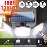 Luz solar de parede de 3 cabeças Motion Sensor Jardim externo lâmpada de rua + controle remoto