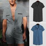 Férfi egyszínű hajtókás utcai viselet rövid ujjú munkaruhák zsebek nyári alkalmi overál férfi rövidnadrág