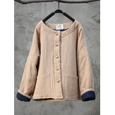 Vintage Women Solid Color Double Pocket Button Long Sleeve Thick Coat