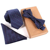 Thời trang nam Tie Tie Bộ Cổ Tie Bow Tie Túi vuông Khăn 3 miếng Đảng Tie