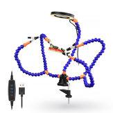 NEWACALOX مكتب كليب PCB لحام حامل 3X المكبر 3 ألوان مضيئة مصباح لحام مساعدة اليد مرنة الذراع لحام أداة اليد الثالثة