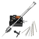 Semi-automatic Mini Hand Drill with 10 Twist Drills Chuck Clamping 0.3-4.0mm Reamer Pinhole Hand Drill