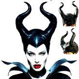 Costume di Halloween Cappello con corna da regina Magia Copricapo da strega da regina nera Puntelli per feste in maschera di Halloween
