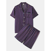 Mens Striped Smooth Revere Collar Pocket Button Up Home Faux Silk Pajama Set