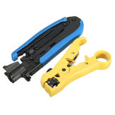 2Pcs Coax Coaxial Cable Crimper & Stripper Multi-Function Hand Operated Tools