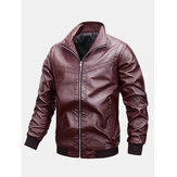 Mens Basic Zipper Stand Collar Casual Relaxed Fit PU Leather Biker Jacket