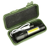 XANES 1517B XPE+COB Dual Lights 1000Lumens Zoomable USB Rechargeable EDC Tactical LED Flashlight Suit
