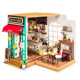 Robotime DG109 DIYドールハウスミニチュアサイモンのカフェ木製ドールハウスおもちゃの装飾工芸ギフト