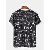 Mens Funny Doodle Math Formulas Print Casual Black Short Sleeve T-Shirts