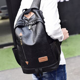 Men Faux Leather Casual Fashion 14 Inch Laptop Bag School Bag Travel Backpack