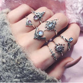 Retro Ethnic Style Openwork Gem Joint Ring