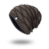 Вязаная шерсть Шапка Сезон Plus Теплая черная пятизвездочная шапочка для шапочки