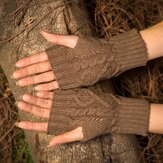 Wool Knit Half Finger Typing Female Diamond Finger Gloves