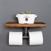 Double Toilet Paper Holder Urban Industrial Iron Pipe Wall Mount with Wood Shelf Paper Shelf Holder