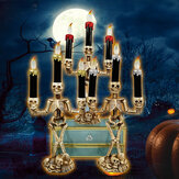 Battery Supply Halloween Prop Skeleton Ghost Haunted 3 LED Candle Holder Backdrop Table Party Decor