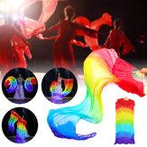 Mall Belly Dance Wentylator LED Welon Bambusowe wentylatory Welon Ręcznie wykonany jedwabny wentylator do tańca / scena zewnętrzna Prop Działania Narzędzia Dekoracje 180 cm * 90 cm