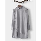 Erkekler Hint Giyim Uzun Kollu Suudi Arabistan Kurta Etnik Elbise Kaftan Robe Tops