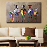 Tranh vẽ tay sơn dầu Năm Colorful Zebra Nghệ thuật hiện đại cho tranh trang trí nhà