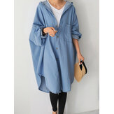 Women Batwing Sleeve Casual Loose Hooded Long Shirt Coats