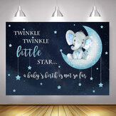 Blue Elephant Photography Backdrop Baby Shower Party Birthday Animals Background