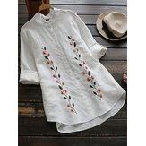 Bordado vintage gola blusa botão manga longa