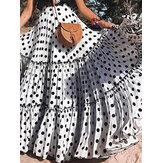 Лето Пляжный Big Swing Платье Юбки в горошек