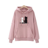 Women Casual Cartoon Cat Print Hoodie Sweatshirt