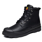 Rubber Toe Bumper Slip Resistant Leather Ankle Boots