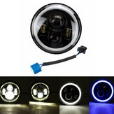7inch Round LED Headlights Blue Halo Ring Angel Eyes For Jeep Wrangler JK TJ LJ CJ