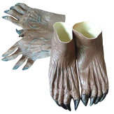 Adult Halloween Werewolf Monster Hands Glove+Feet Shoes Cover Costume Accessory