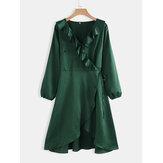 Talla grande Mujer Verde con volantes en el dobladillo con cuello en V informal Vestido