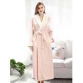 Plus Size Long Sleeve Flannel Longline Bathrobe Nightgown