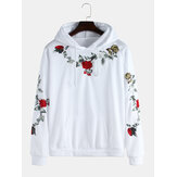 Rose Embroidery Hooded Drawstring Casual Sweatshirt