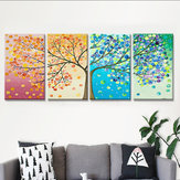 Miico Hand Painted Four Combination Decorative Paintings Four-Color Life Tree Wall Art For Home Decoration