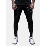 Mens Sport Breathable Stripe Slim Casual Pants