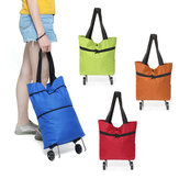 25L Portable Folding Shopping Trolley Cart Storage Bag Wheel Luggage Basket Outdoor Travel
