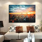 New York Şehir Gece İpek Kumaş Poster Boyama Modern Duvar Kağıdı Sanat Yağ Resim Oturma Odası Ev Dekor