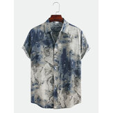 Mannen abstract bedrukte korte mouw turn-down kraag casual shirts