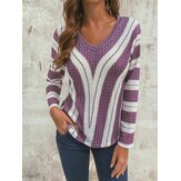 Stripe V-Neck Long Sleeve Casual Knit Sweaters Blouse For Women