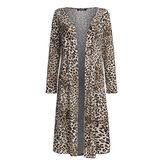 Long Sleeve Leopard Snake Printed Open Front Cardigans