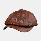Men Cowhide Leather Hat Tide Navy Beret Octagonal Caps