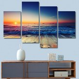 4 Painéis Praia Sunset Canvas Pinturas Impressas Sea Seascape Modern Home Decor