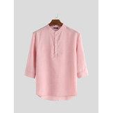 Mens Camisa 3/4 manga gola botão blusa pulôver casual Soft vestido tops